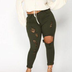 FashionNova Glistening Ripped Jeans in Olive